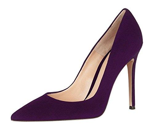 À Avant Violet Escarpins Femmes Talons Femme Couvert Elashe Chaussures Pieds Fermés Du 10cm C4xFI