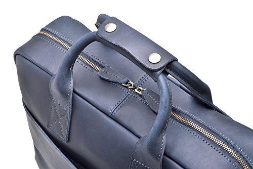 """Hølssen Men's Leather Briefcase Messenger Bag (Dark Blue) Professional Business Satchel w/ 15"""" Laptop Pocket by Hølssen (Image #5)"""