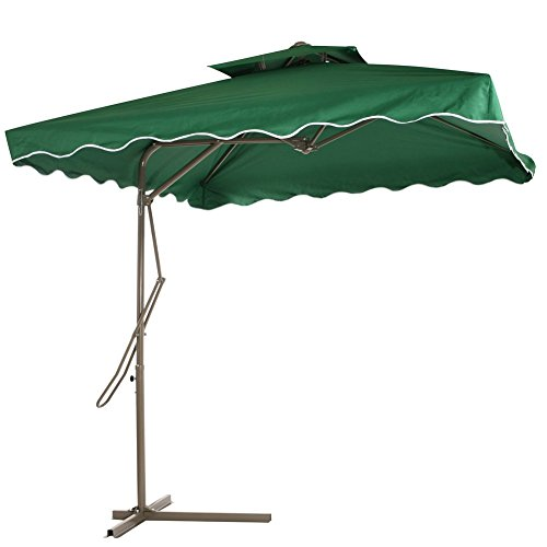 Reliancer Patio Umbrella,7.2' x 7.2' Square Offset Garden Umbrella,Multi-Role Outdoor Umbrellas (Green) (Umbrella Offset What An Is)