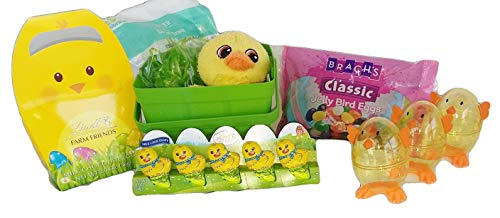 Easter Basket with Lindt Easter Candy for kids -5 Mini Lindt Milk Chocolate Mini Chicks, Farm Friends Chocolate Eggs, Brach's Classic Jelly Bird Eggs, Plush Chick Stuffed Animal in Basket with Grass ()