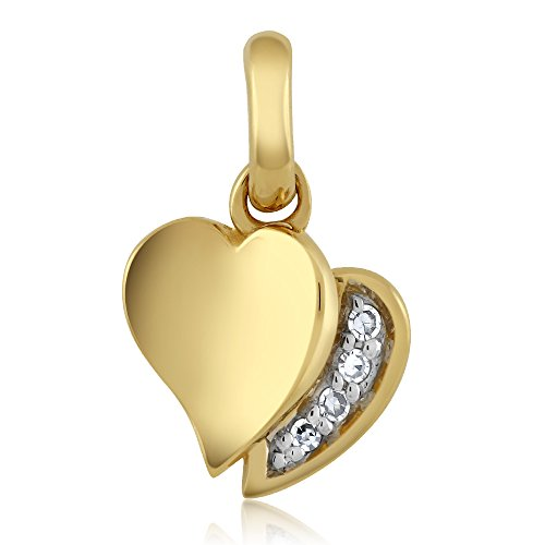 18K Yellow Gold White Diamond Heart Shape Ladies Pendant (Near-colorless I color, I1 Clarity)