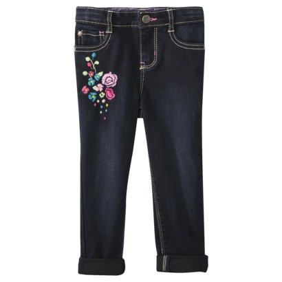 Genuine Kids Made By Oshkosh Infant Girls Sweet Skinny Dark Wash Flowered Jeans