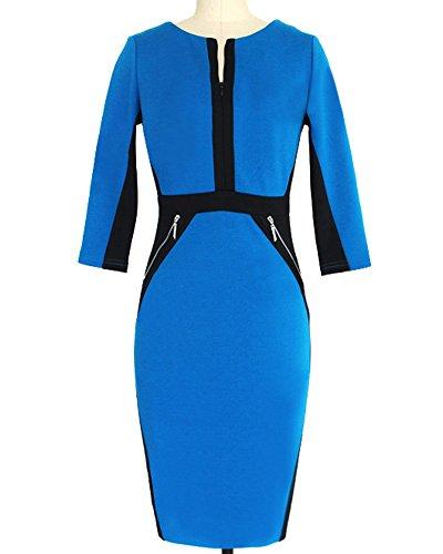 Mujer Vintage 1950s Vestido Corta Elegante Negocios Coctel Fiesta Azul