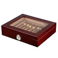 volenx Cigar Humidor Hold 25 Cigars with Glasstop Cherry Matt Finish