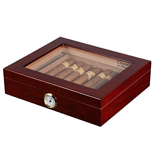 volenx Cigar Humidor Hold 25 Cigars with Glasstop Cherry Matt (Cherry Finish Cigar Humidor)