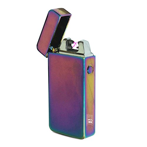 CPENT Electronic Arc Cigarette Lighter Double Arc Lighter USB Electric Lighter Rechargeable Flameless Windproof Cigar lighter Arc Cigarette Lighter Rainbow