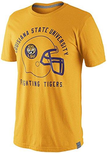 Nike LSU Louisiana State University Fighting Tigers Vault Helmet Tri-Blend Shirt (2XL, Gold)