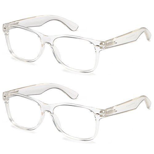 Gamma Ray Deluxe Classic Style Reading Glasses with Spring Hinge Readers for Comfort fit Men and Women – Clear Frame - Reading Clear Frames Glasses