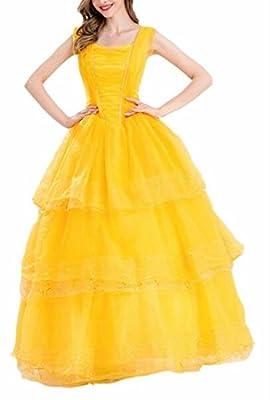 Jaycargogo Women's Belle Costume Adult Size Show Dress for Halloween Party