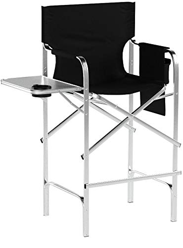 Trademark Innovations 45″ Aluminum Frame Tall Metal Director's Chair with Side Table (Black)