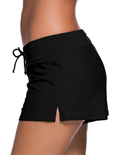 Satinior Women Swimsuit Shorts Tankini Swim Briefs Side Split Plus Size Bottom Boardshort Summer Beach Swimwear Trunks (L Size, Black) by Satinior (Image #1)