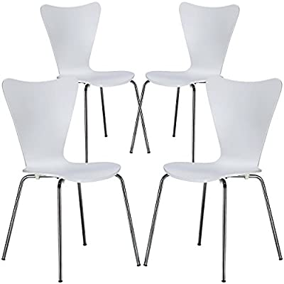 Poly and Bark Elgin Wooden Dining Side Chair with Chrome Legs, Stackable, 250 lbs Capacity, White (Set of 4) - Solid plywood Seat Stackable up to 6 high Chromed Steel legs - kitchen-dining-room-furniture, kitchen-dining-room, kitchen-dining-room-chairs - 41%2B mIb8JGL. SS400  -
