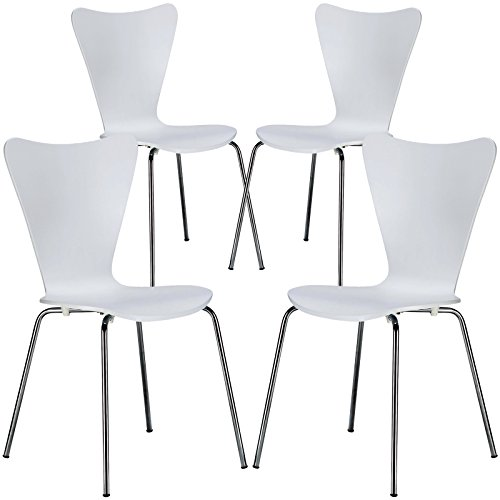 Poly and Bark Elgin Wooden Dining Side Chair with Chrome Legs, Stackable, 250 lbs Capacity, White (Set of 4)
