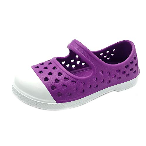 Toddler and Girl's Waterproof Maryjane with Strap | EVA Upper Material and Odor Resistant Footbed with Arch Support | Flexible and Lightweight Synthetic Shoe 13/1 M Purple ()