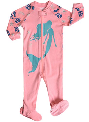 Little-and-Baby-girls-Footed-Mermaid-Pajamas-Sleeper-100-Cotton-Size-24M
