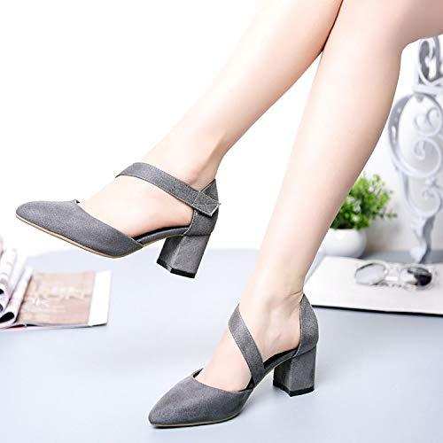 Au XING Tempérament Professionnelles GUANG Le avec pour Velcro Sandales Chaussures 41 Mince Chaussures des Milieu Black Femmes Nouveau était Femmes des des des 38 Femmes Grey épaisses Femmes rr8AT