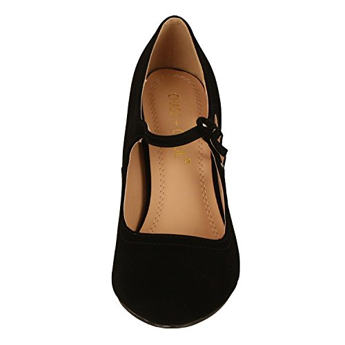 Chase & Chloe Womens Kimmy-21 Regular | Mary Jane | Scarpe Con Tacco Medio In Nabuk Nero