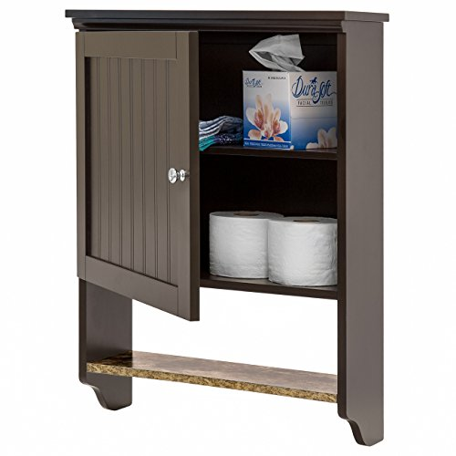 Best Choice Products Bathroom Wall Mounted Hanging Storage Cabinet Furniture w/Open Shelf, Versatile Door - Espresso