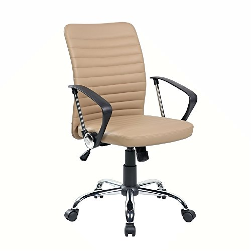 Eurostile Mid-Back Ribbed Leather Desk Chair Swivel Conference Chair Adjustable Computer Chair with Armrests (Beige)