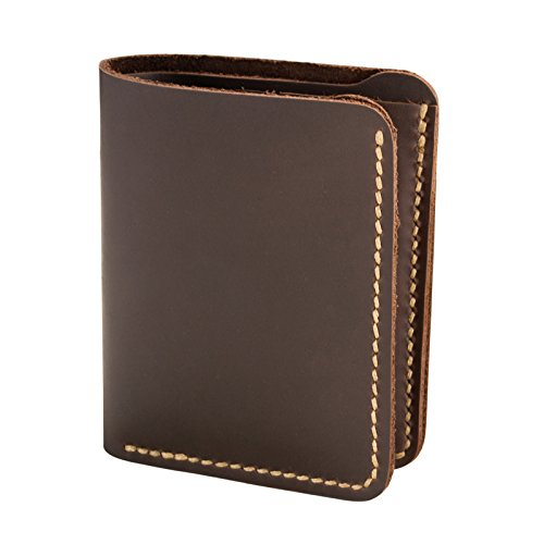 (ANCICRAFT Men's Bi-fold Stitched Wallet Genuine Cowhide Leather Handmade with 6 Credit Card Slots, Dark Brown)
