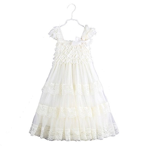 (2016 lace Flower Rustic Burlap Girl Baby Country Wedding Flower Dress, Ivory,Size M, US Size 3)
