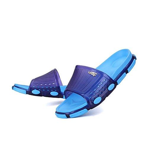 Supper Purple Punta Dark Zapatillas color Suave Del Hombre Para shoes Banda Unisex Ancha Casual Amante Pvc Suela Zapatos 38eu Juans Abierta De Size Blue xUWH7p