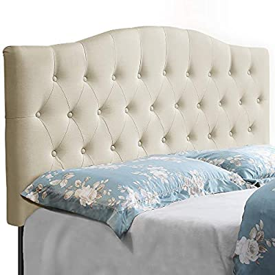 HOME BI Upholstered Tufted Button Curved Shape Linen Fabric Headboard Full/Queen Size