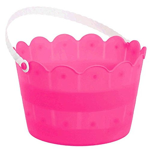 Amscan Bright Pink Scalloped Plastic Bucket | Party -