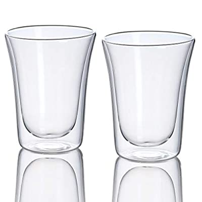 Jecobi Charm, Strong Double Wall Insulated glass, Cocktail Beer Drinkware Set of 2. 14 Ounce