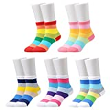 Epeius Kids Girls' 5 Pack Seamless Rainbow Stripes Crew Socks for 6-8 Years,smooth toes,Shoe Size 11-1