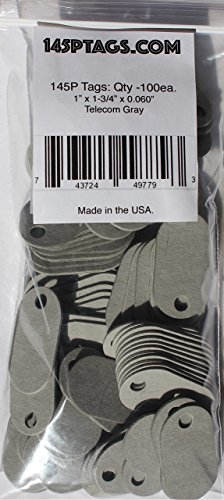 145P Tags Telecom Gray Bag, 1 x 1-3/4 x 0.060-Inch, 100-Pack