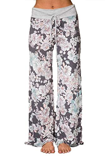 WFTBDREAM Lounge Pants Women Boho Floral Printed Flared Leg Pajamas Drawstring Waist S