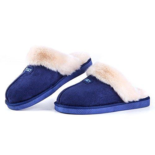 Mecabiu Confortable Doux Hiver Lavable Pantoufles De Maison Pour Hommes Glisser Sur Bleu