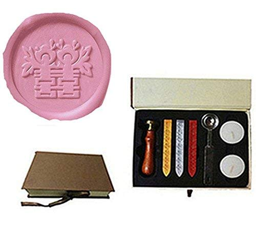 - MDLG Chinese Character Curlicue Double Happiness Wax Seal Stamp Wedding Invitation Gift Cards Packages Wax Seal Sealing Wax Sticks Stamp Rosewood Handle Sticks Melting Spoon gift Box Set Kit