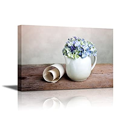 With a Professional Touch, Incredible Work of Art, Still Life with Blue Hortensia Flowers in Porcelaine Can