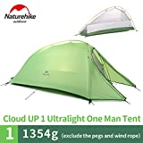 1 Person 4 Season Tent Double Skin 210T Plaid Fabric Ultralight Camping Tent(Green)