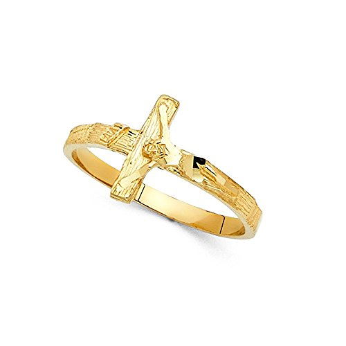 INRI Jesus Cross Ring Solid 14k Yellow Gold Crucifix Band Diamond Cut Polished Genuine 11MM Size 9