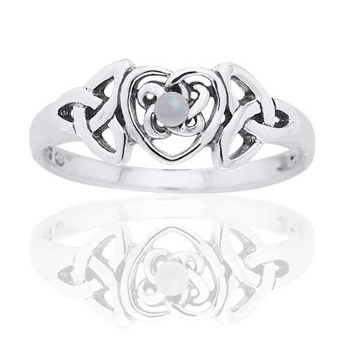 3 Stone Pearl Ring (June Birthstone Ring - Sterling Silver Mother of Pearl Celtic Trinity Knot Heart Size 4(Sizes)