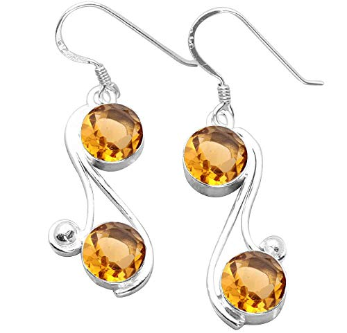 Round Shape Simulated Citrine Dangle Earrings 925 Silver Overlay Handmade Fashion Jewelry For Women Girls ()