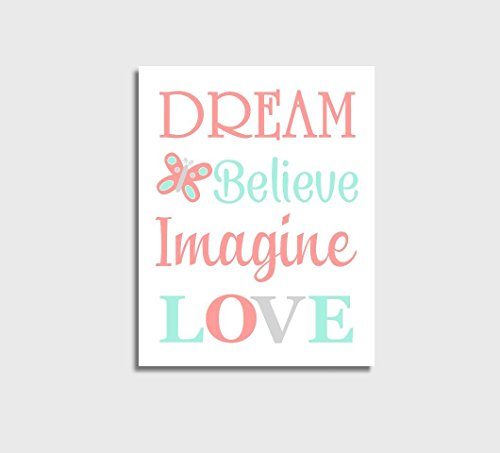 Coral Canvas Baby Girl Nursery Wall Art Mint Dream