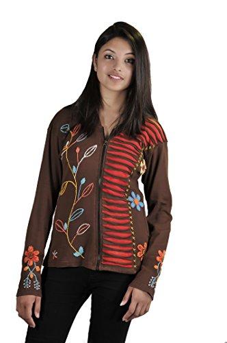 de coton avec femmes coupe de Cardigan et la Multicolore Razor conception broderie vFdtq5d