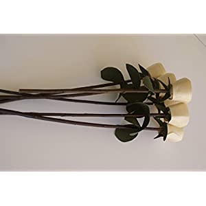 6 Wood Roses on branch for Romantic gift, Handmade, wooden flowers, Birthday gift, Wedding favor, Get well soon gift, 6