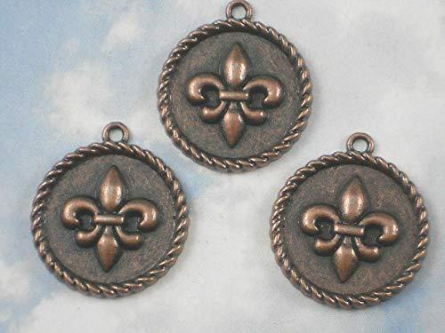 3 Charms Fleur Medallions Antique Copper Tone Rope Edge #ID-431