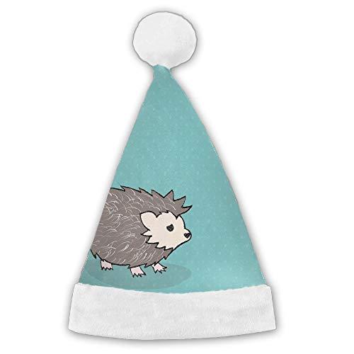 Cute Cartoon Hedgehog Red Velvet Christmas Santa Hat With Plush Trim by Customgogo