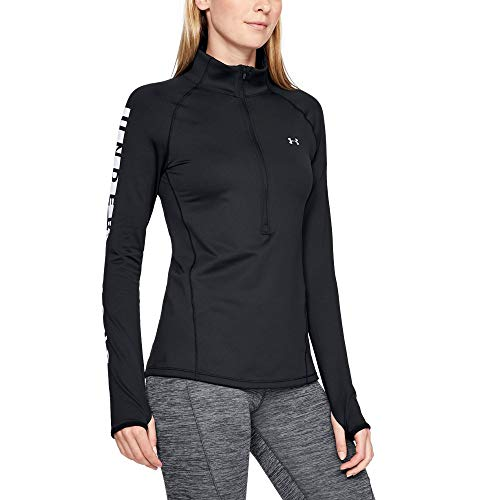 Under Armour Women's Coldgear Armour Graphic 1/2 Zip, Black (001)/Metallic Silver, X-Small by Under Armour (Image #1)