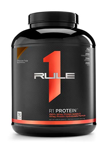 R1 Protein Whey Isolate/Hydrolysate, Rule 1 Proteins (76 Servings, Chocolate Fudge) (Zero Belly Protein Powder)