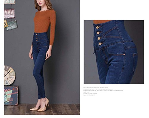6 Alta Sottili Jeggings Denim Skinny Leggings Vita Slim Blu Scuro Stretch Keephen Womens 4gSq7