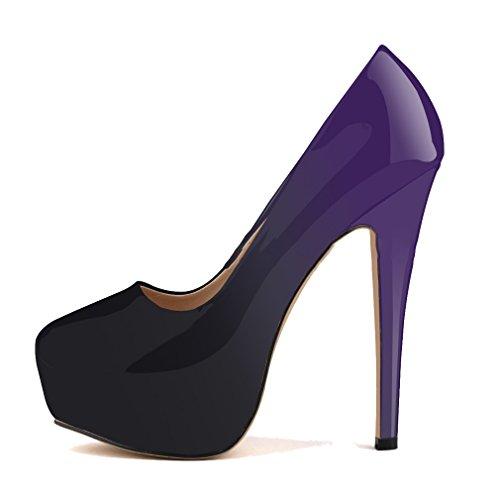Gradient Xianshu Combats Couleur Violet Pompes forme Chaussures bas Talons Haut Plate Talon Cuir Brevets PzFqr6P