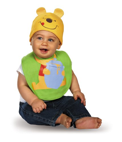 (Disguise Baby's Disney Winnie The Pooh Infant Bib and Hat, Green/Yellow/Red/Black, 0-6)