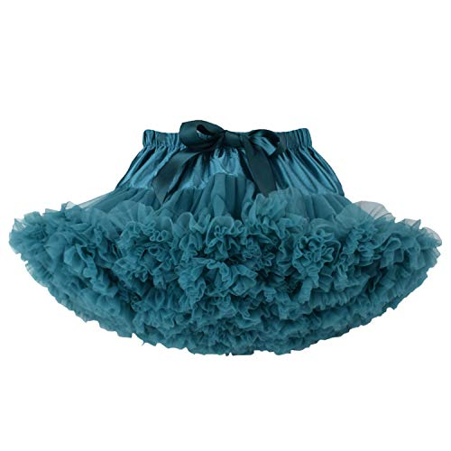 URVIP Baby Little Girl Tiered Tulle Pleated Tutu Skirt Princess Dance Pettiskirt Peacock S -